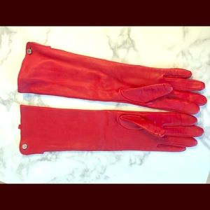 Club Monaco Long Leather Red Gloves